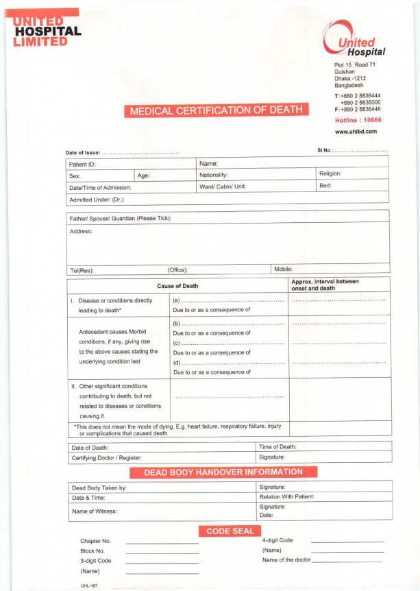 Death Certificate - United Hospital